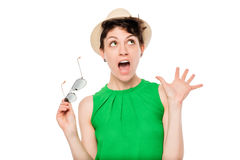 Shocked emotional woman portrait on a white background Stock Photos