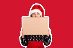 Free Shocked Excited Girl Standing And Holding Big Gift Carton Box. Copy Space. Magazine Collage Style With Trendy Color Background. Stock Photography - 158851342
