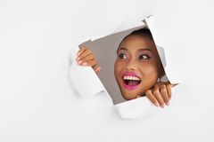 Shocked excited woman Royalty Free Stock Photos
