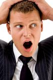 Shocked executive posing with facial expressions Royalty Free Stock Photo