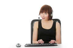 Shocked expression girl on PC Royalty Free Stock Photography