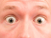 Shocked eyes. Wide open fearful eyes with copy space Stock Photos