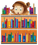 A shocked face of a girl at the back of a wooden shelves with bo. Illustration of a shocked face of a girl at the back of a wooden shelves with books on a white Stock Images
