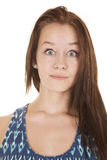 Shocked face teen girl blue dress Royalty Free Stock Image