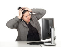 Shocked fat businesswoman Stock Photography