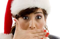 Shocked female attorney wearing christmas hat Stock Photos