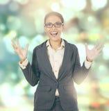 Shocked female entrepreneur with blur background Royalty Free Stock Photos