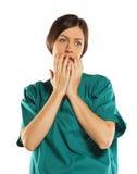 Shocked female. isolated on white background Royalty Free Stock Image