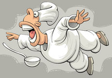 Shocked flying restaurant chef Royalty Free Stock Photos