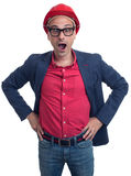 Shocked foreman with hard hat. Isolated Royalty Free Stock Images