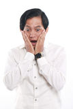 Shocked Funny Young Asian Businessman Royalty Free Stock Photos