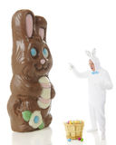 Shocked by a Giant Chocolate Bunny Royalty Free Stock Images
