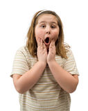 Shocked Girl. A young girl with a shocked expression has hands on her face Royalty Free Stock Photo
