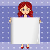 A shocked girl holding an empty signboard. Illustration of a shocked girl holding an empty signboard Royalty Free Stock Photos