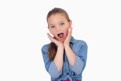 Shocked girl screaming Royalty Free Stock Photos