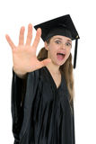 Shocked graduation student woman Royalty Free Stock Image