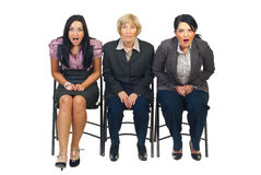 Shocked group of businesswomen royalty free stock image
