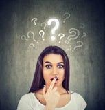 Shocked häpen kvinna med många frågor och inget förklaring eller svar arkivfoto