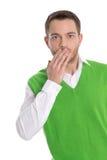 Shocked ha isolato l'uomo d'affari ha dimenticato un appuntamento. Immagine Stock