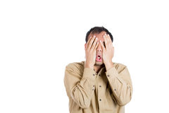 Shocked, horrified, handsome worried and stressed guy Royalty Free Stock Images