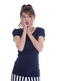 Shocked isolated young woman in panic looking sideways. Royalty Free Stock Photos