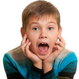 Shocked kid with opened mind Stock Photo