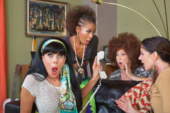 Shocked Ladies on Phone Stock Photo