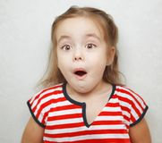Shocked little girl with open mouth and big brown eyes. Shocked little girl with open mouth, big brown eyes and raised eyebrows in striped T-shirt stands beside Stock Image