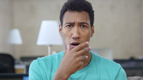 Shocked by Loss Black Young Man in Office, Portrait stock footage