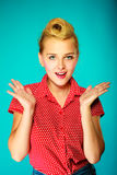 Shocked lovely pin up young girl Royalty Free Stock Images