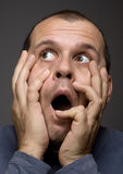 Shocked man. Portrait image of confused and surprised man Stock Photography