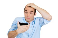 Shocked man, bed news Royalty Free Stock Images