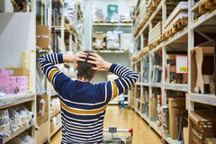 Shocked man in big supermarket Stock Images