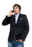 Shocked man with cell phone Stock Image