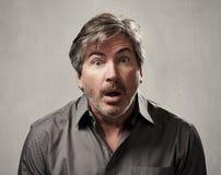 Shocked man face. Stock Photo
