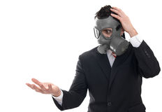 Shocked man with gas mask Royalty Free Stock Image