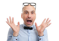 Shocked man with glasses and bow-tie Stock Photography