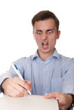 Shocked man isolated on white. While signs an expensive bill or documents Royalty Free Stock Photos