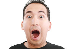Shocked man over white Stock Images