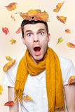 Shocked Man Playing In Falling Autumn Leaves Stock Image