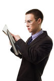 Shocked man read newspaper Royalty Free Stock Photography