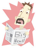 Shocked man when reading big news in newspaper. Stock Photos