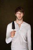 Shocked Man With Trowel Stock Photo
