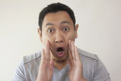 Shocked Men With Open Mouth royalty free stock photo