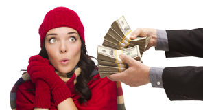 Shocked Mixed Race Young Woman Being Handed Thousands of Dollars Stock Image
