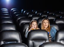 Shocked Mother And Daughter Watching Movie Royalty Free Stock Images