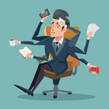 Shocked Multitasking Businessman at Office Work Royalty Free Stock Photos