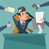 Shocked Multitasking Businessman. Stress at Work Royalty Free Stock Photography