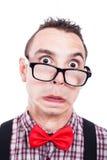 Shocked nerd face. Shocked nerd man making funny face, isolated on white background Stock Photos