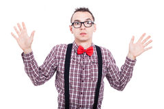 Shocked nerd man Stock Photo